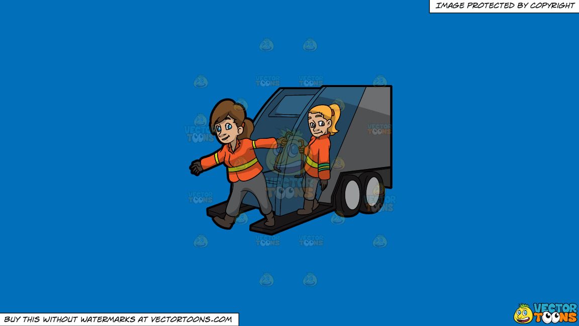 Two Female Sanitation Workers On The Back Of A Garbage Truck On A Solid Spanish Blue 016fb9 Background thumbnail