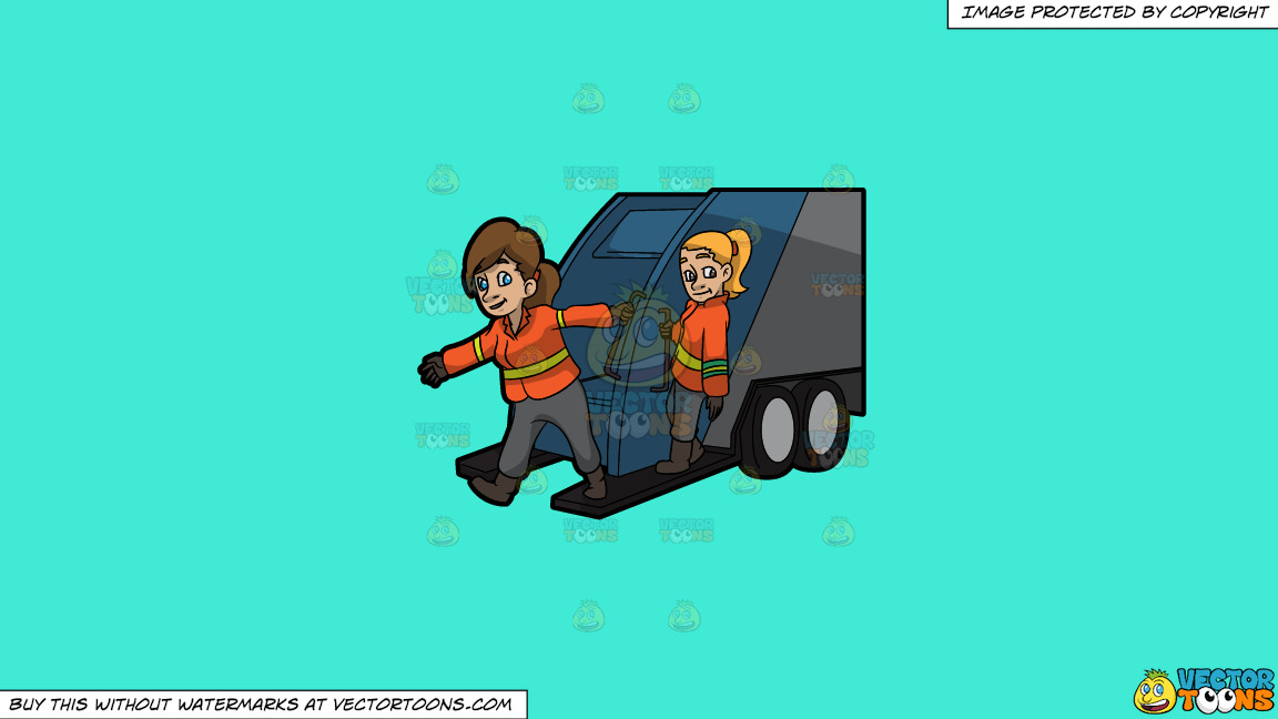 Two Female Sanitation Workers On The Back Of A Garbage Truck On A Solid Turquiose 41ead4 Background thumbnail