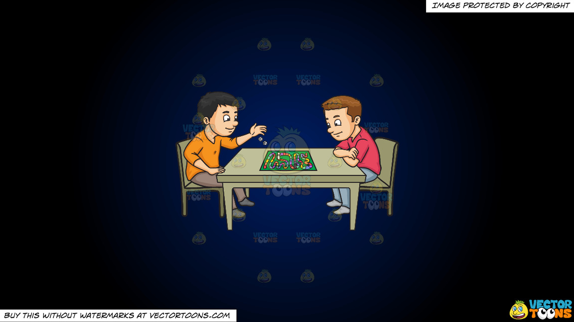 Two Friends Playing A Board Game On A Dark Blue And Black Gradient Background thumbnail