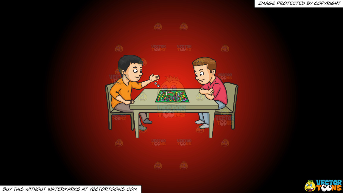 Two Friends Playing A Board Game On A Red And Black Gradient Background thumbnail
