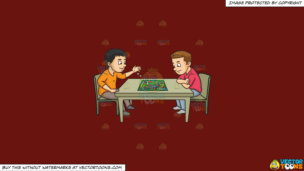 Two Friends Playing A Board Game On A Solid Maroon 69140e Background thumbnail