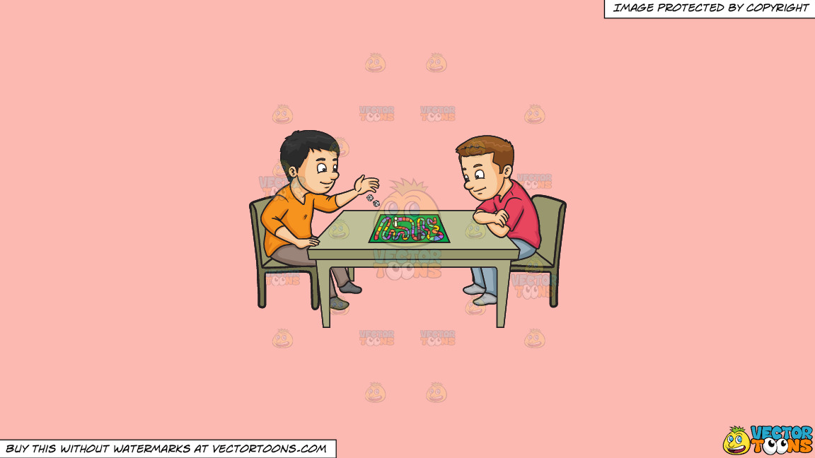 Two Friends Playing A Board Game On A Solid Melon Fcb9b2 Background thumbnail