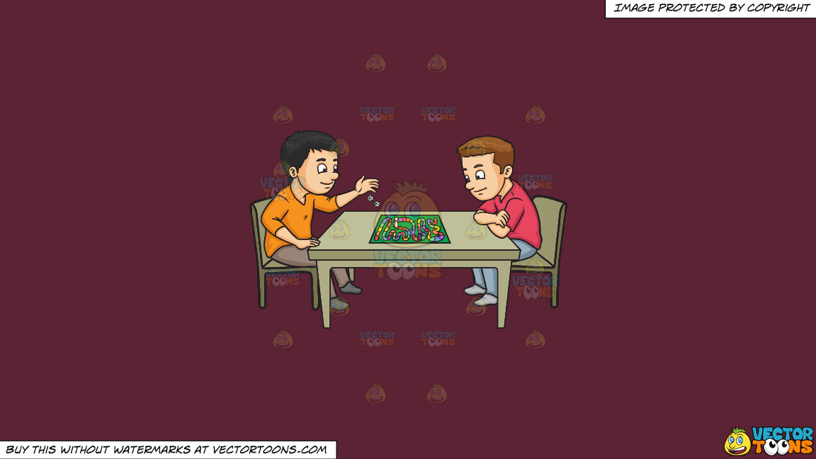 Two Friends Playing A Board Game On A Solid Red Wine 5b2333 Background thumbnail