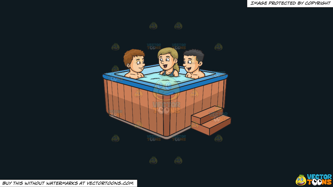 Two Guys And A Girl Chatting While Dipping In The Hot Tub On A Solid Off Black 0f1a20 Background thumbnail