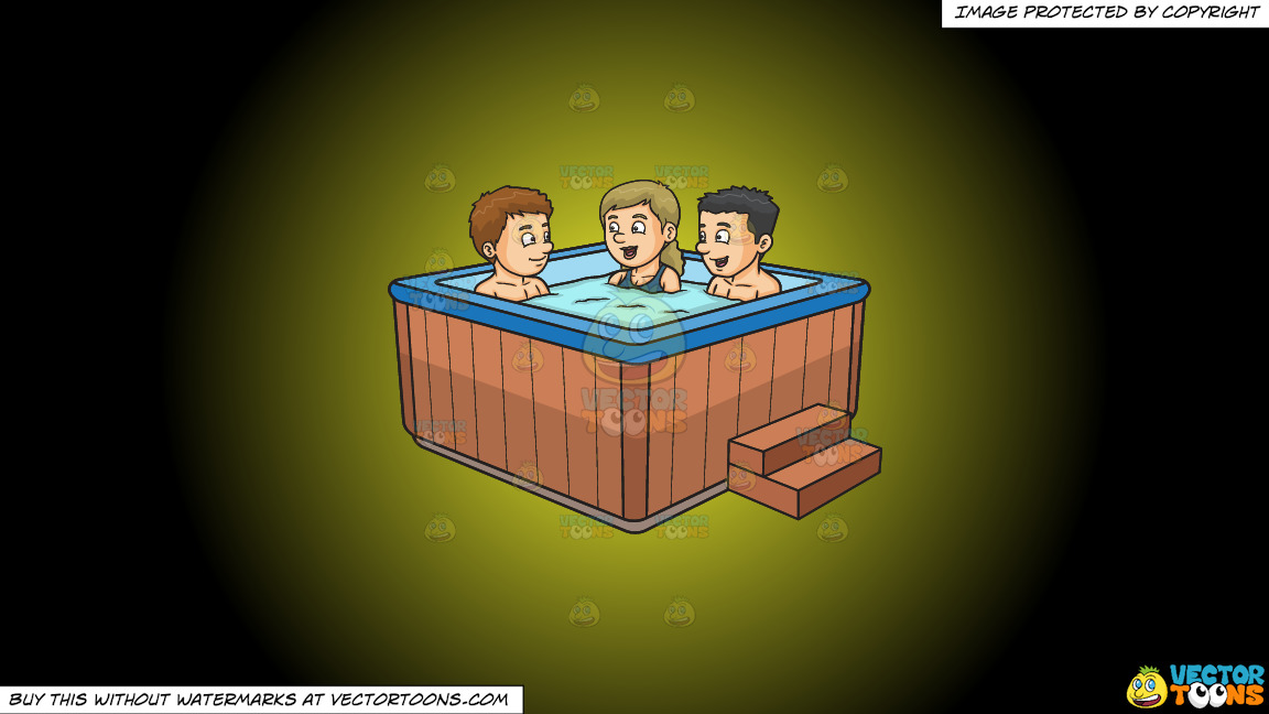 Two Guys And A Girl Chatting While Dipping In The Hot Tub On A Yellow And Black Gradient Background thumbnail