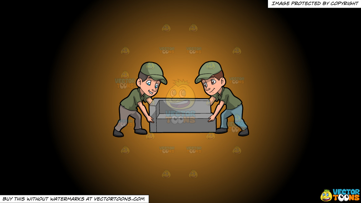 Two Male Movers Lifting A Sofa On A Orange And Black Gradient Background thumbnail