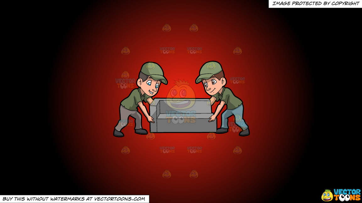 Two Male Movers Lifting A Sofa On A Red And Black Gradient Background thumbnail