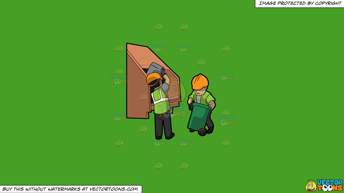 Two Male Sanitation Workers Dumping Garbage Into The Truck On A Solid Kelly Green 47a025 Background thumbnail