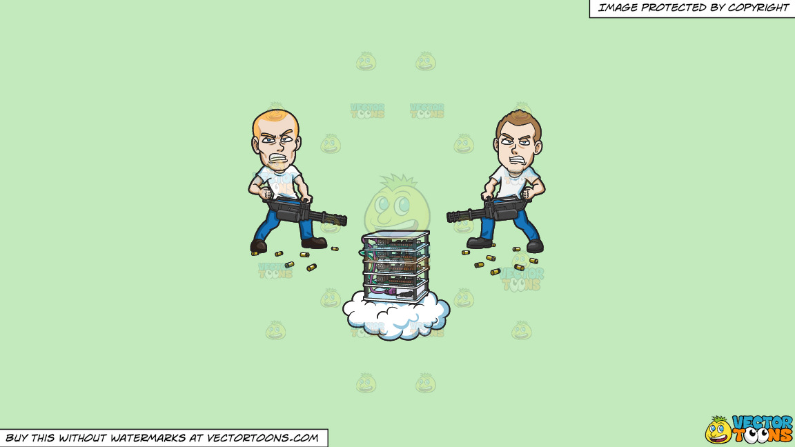 Two Men Sabotaging A Machine On A Solid Tea Green C2eabd Background thumbnail