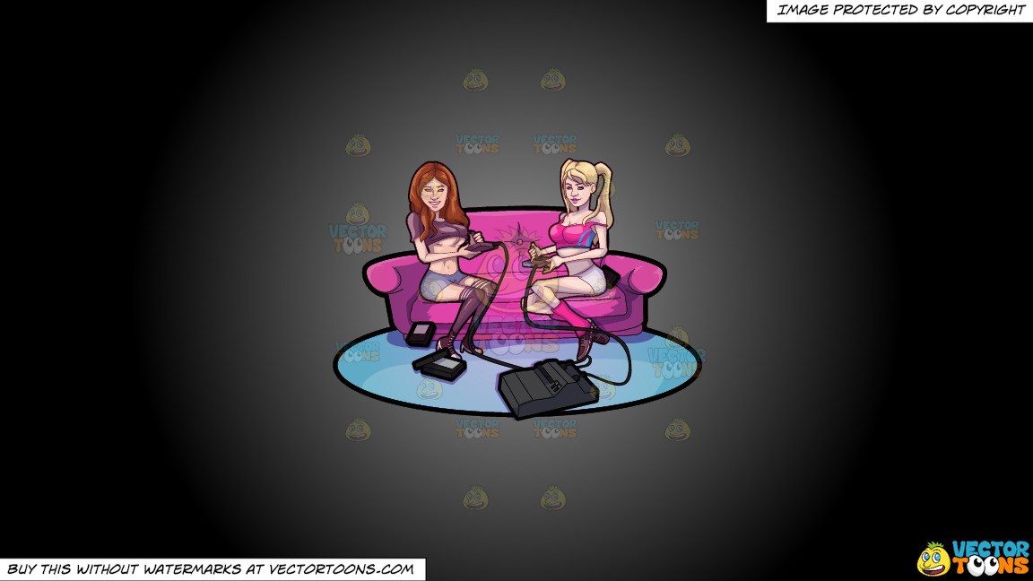 Two Sexy Girls Playing Video Games On A Grey And Black Gradient Background thumbnail
