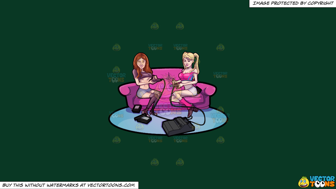 Two Sexy Girls Playing Video Games On A Solid Dark Green 093824 Background thumbnail