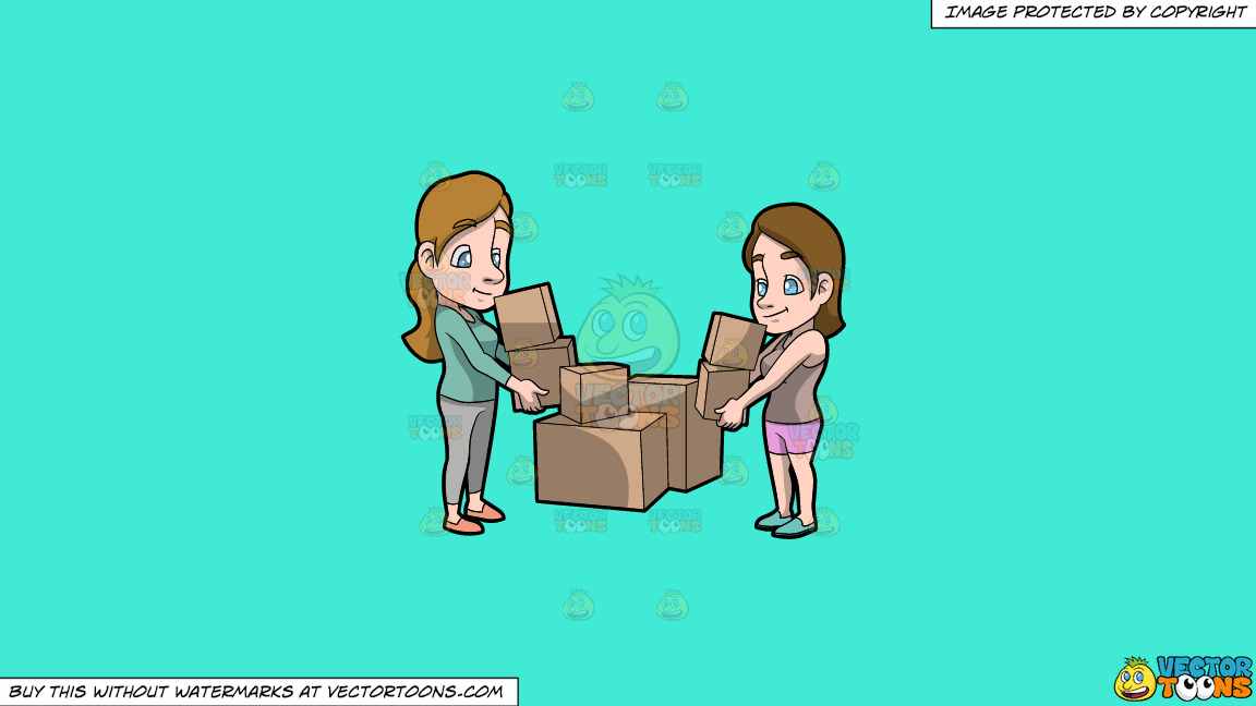 Two Women Carrying Boxes On A Solid Turquiose 41ead4 Background thumbnail