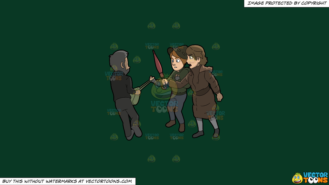 Two Women Trying To Fight Off A Mugger On A Solid Dark Green 093824 Background thumbnail