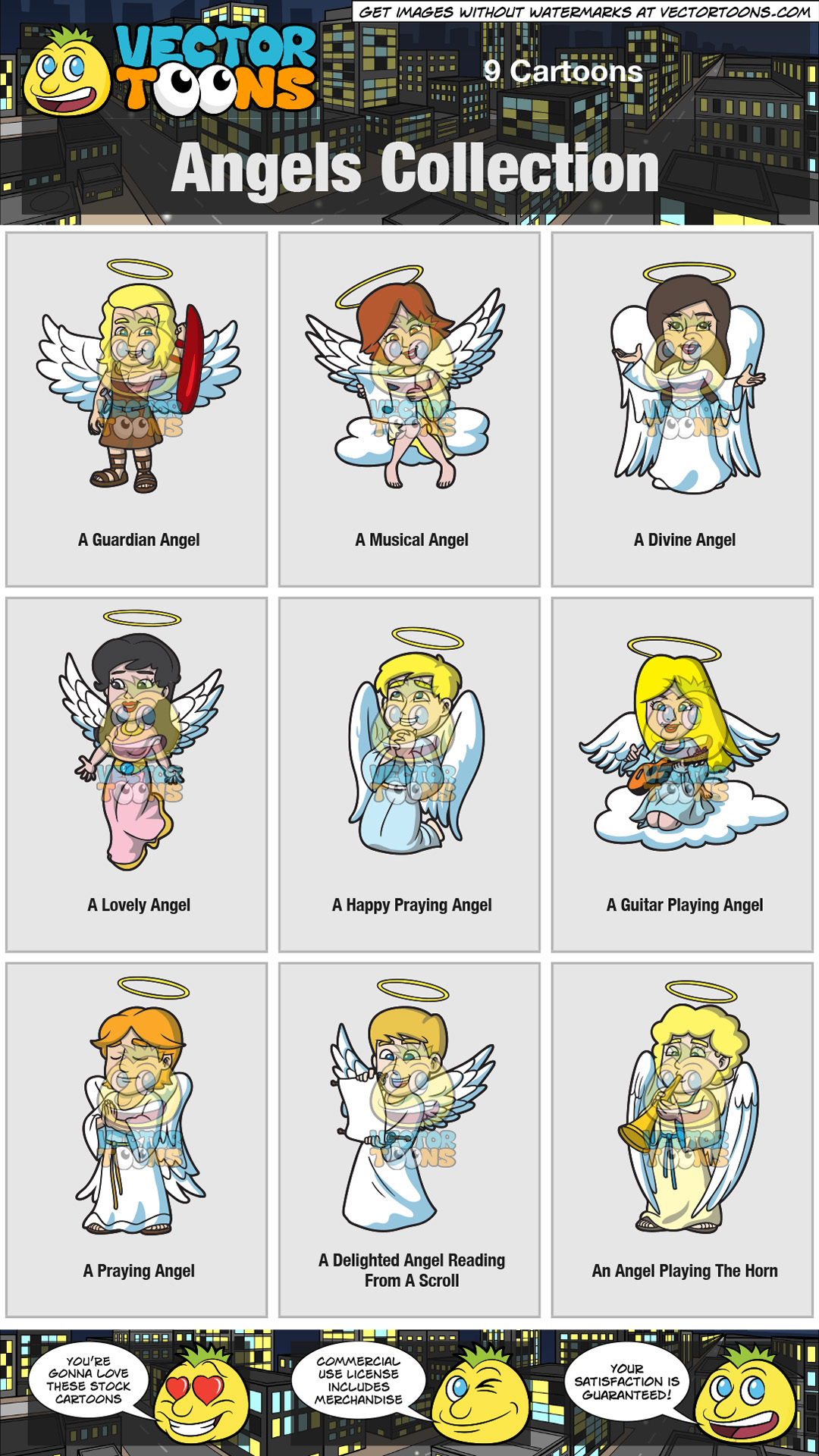 A Delighted Angel Reading From A Scroll – Clipart by ...