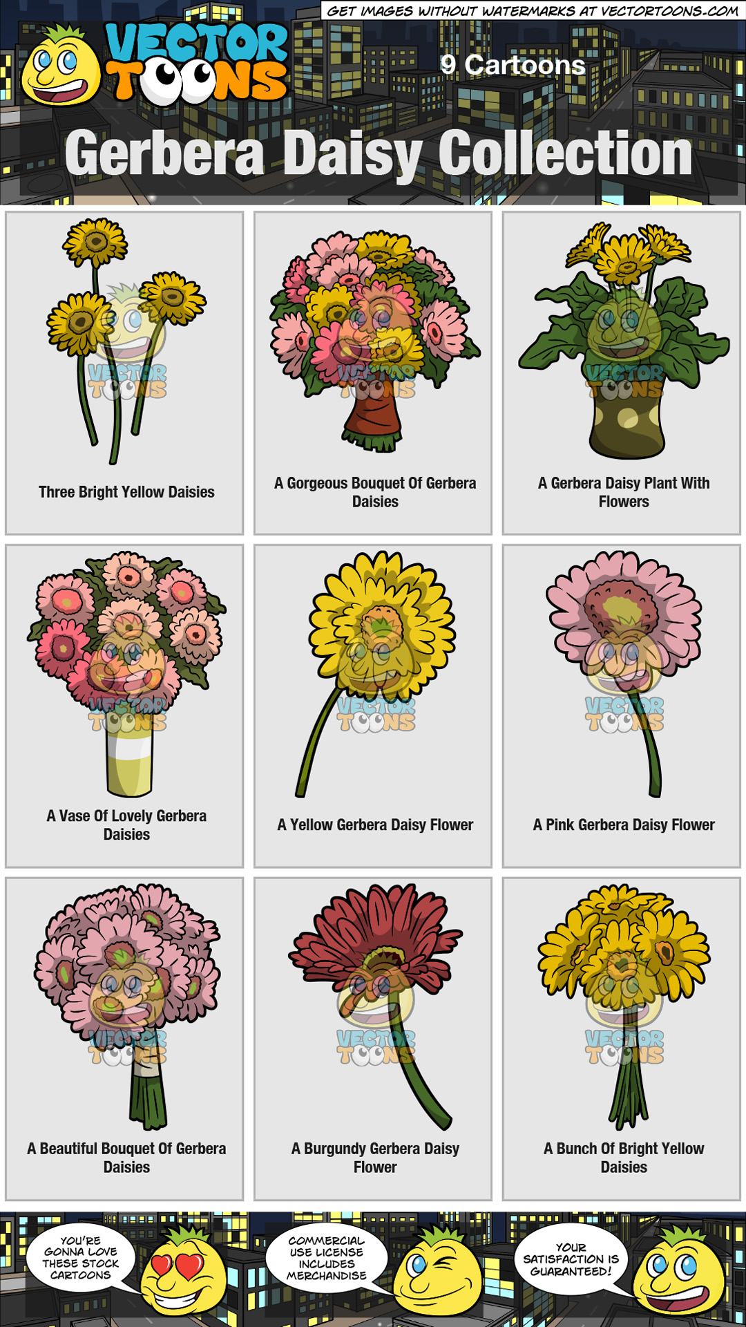 Gerbera daisy collection clipart by vector toons gerbera daisy collection thumbnail izmirmasajfo