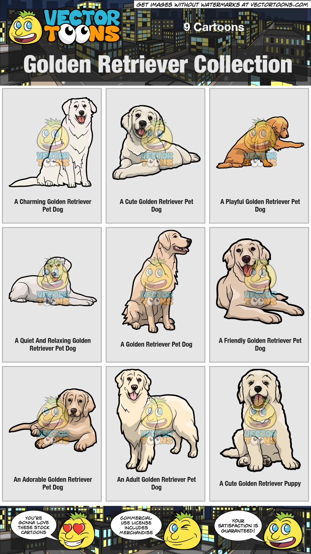 A Friendly Golden Retriever Pet Dog Clipart By Vector Toons