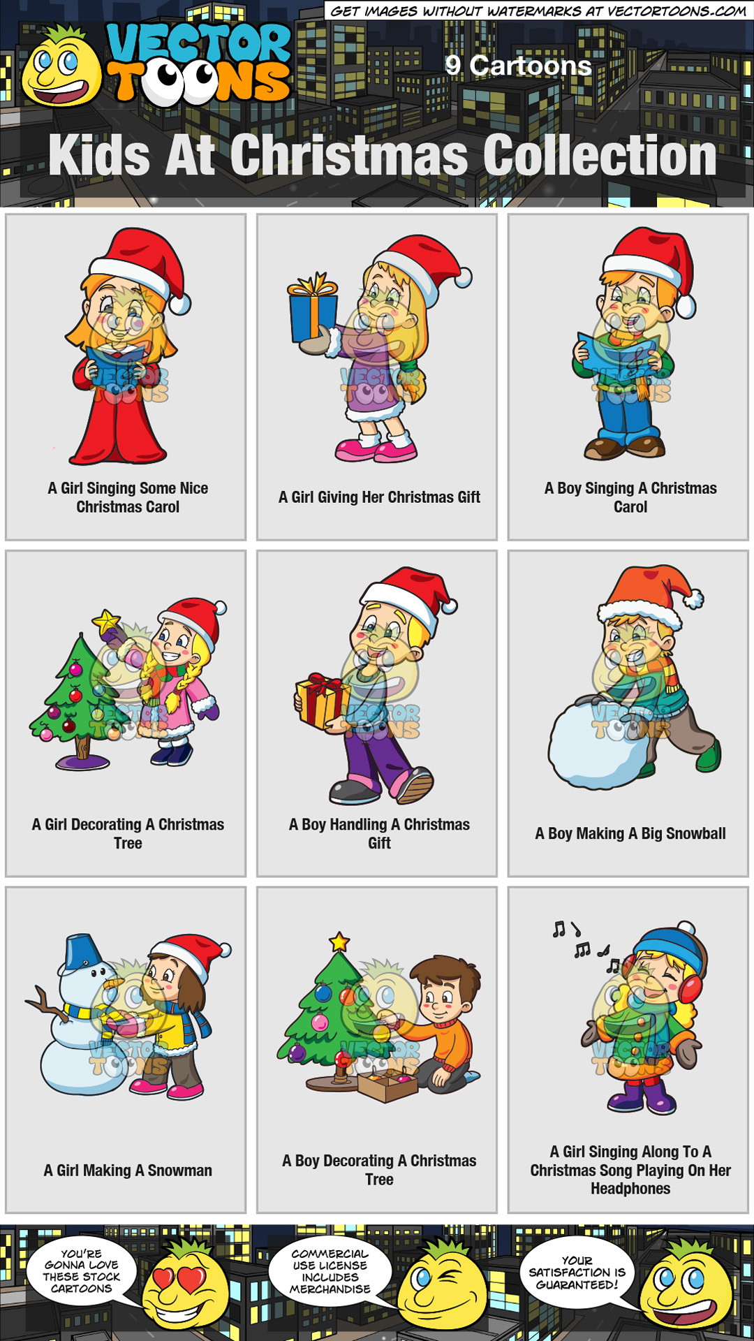Kids At Christmas Collection – Clipart by Vector Toons